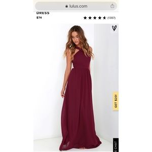 LULU's Air of Romance Burgundy Maxi Dress BRANDNEW